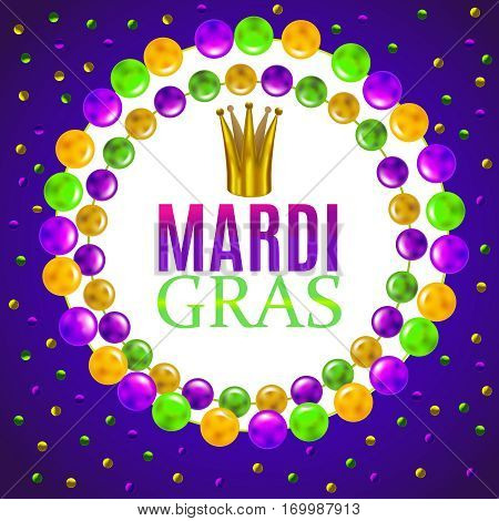 vector mardi gra composition with crown confetti and beads