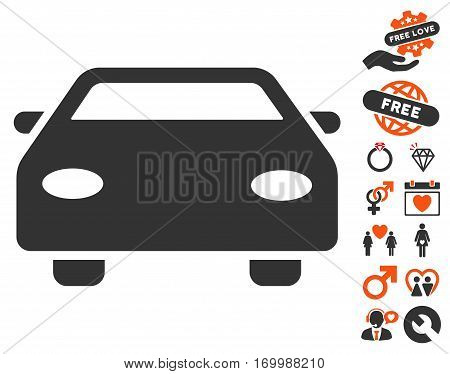 Car icon with bonus dating clip art. Vector illustration style is flat iconic symbols for web design app user interfaces.