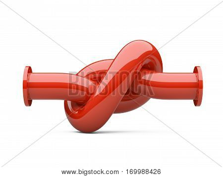 Fuel pipeline with a knot. Crisis. 3d illustration high resolution on a white background.