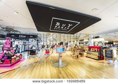 Paris, France - June 2016: in Charles de Gaulle airport duty free shops
