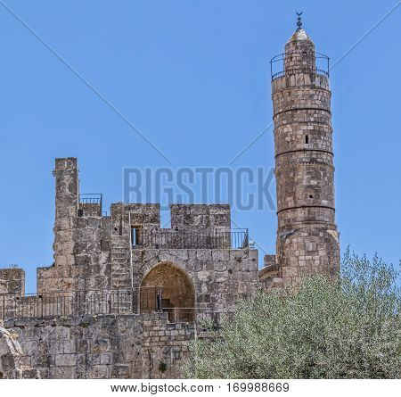 Tower of David also known as an ancient Citadel with the Ottoman minaret in the Old City Jerusalem, Israel.