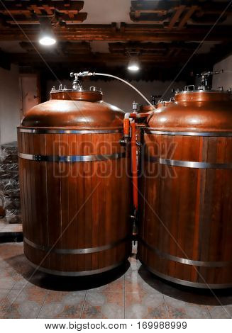 Tanks for fermentation at beer factory