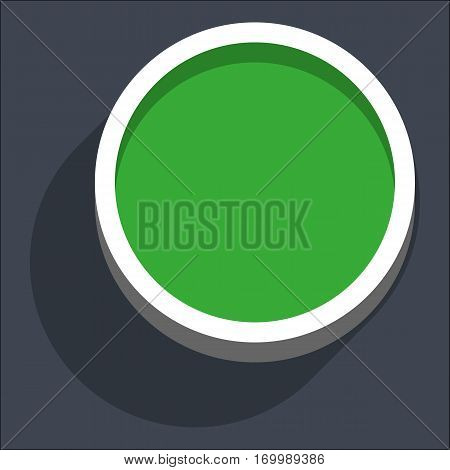 Use it in all your designs. Flat web internet circle button with dark shadow in 3D style. Clicked variant. Quick and easy recolorable shape. Vector illustration a graphic element