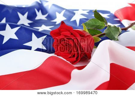 Rose and American flag, closeup