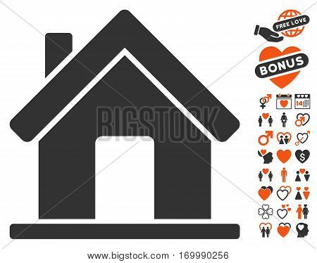 Home icon with bonus lovely pictograms. Vector illustration style is flat iconic symbols for web design app user interfaces.