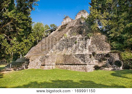 Ruins of the Dzibanche palace , ancient Mayan pyramid ,  Quintana roo region, Mexico.
