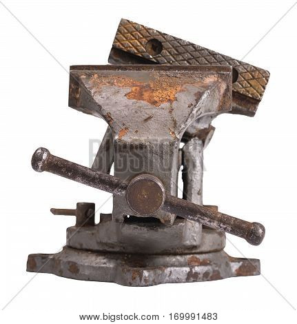 Old damaged industrial vice isolated on white.