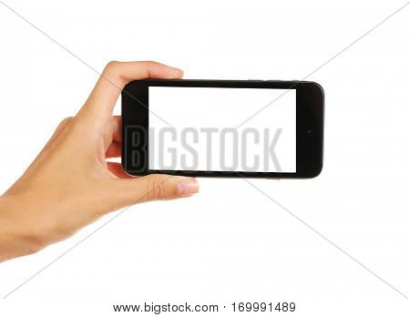 Female hand holding cellphone, isolated on white