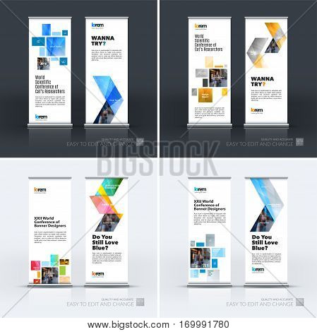 Abstract business vector set of modern roll Up Banner stand design template with colourful squares, rectangles for exhibition, fair, show, exposition, expo, presentation, parade, events.