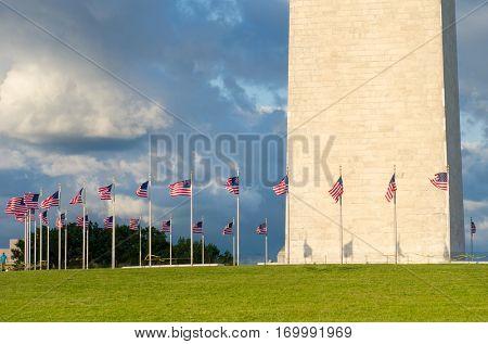 Washington Monument in a dramatic cloudy sky - Washington DC USA