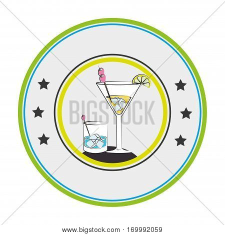 color circular frame with cocktail glass drink vector illustration