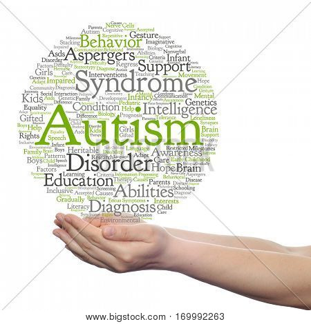 Concept conceptual childhood autism syndrome symptoms disorder abstract word cloud held in hands isolated on background, metaphor to communication, social, behavior, care, autistic, speech difference