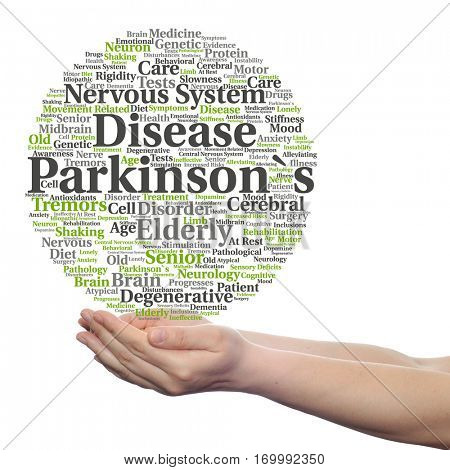 Concept conceptual Parkinson`s disease healthcare nervous system disorder abstract word cloud held in hands isolated on background, metaphor to healthcare, illness, degenerative, genetic symptom brain