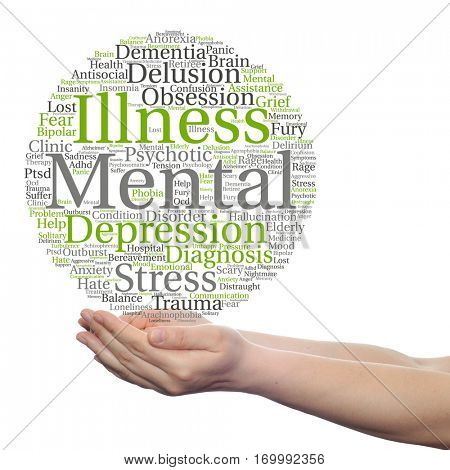 Concept conceptual mental illness disorder management therapy abstract word cloud held in hands isolated on background, metaphor to health, trauma, psychology, help, problem, treatment rehabilitation