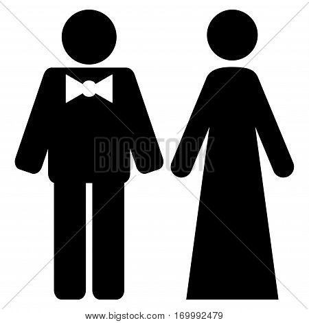 Just Married Persons vector icon symbol. Flat pictogram designed with black and isolated on a white background.
