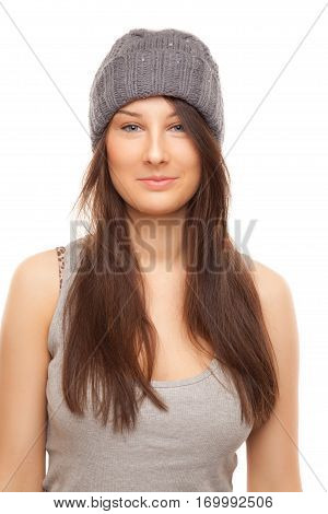 Picture of beautiful woman in grey hat smiling isolated on white