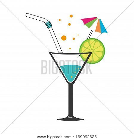 colorful silhouette with cocktail drink with lemon slice and straw and decorative umbrella vector illustration
