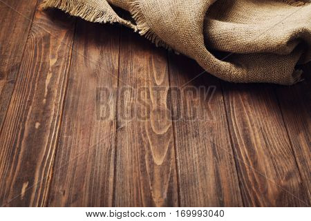 Sackcloth on wooden table
