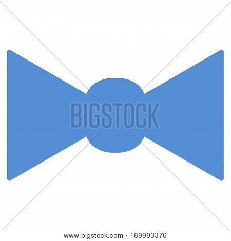 Bow Tie vector icon symbol. Flat pictogram designed with blue and isolated on a white background.