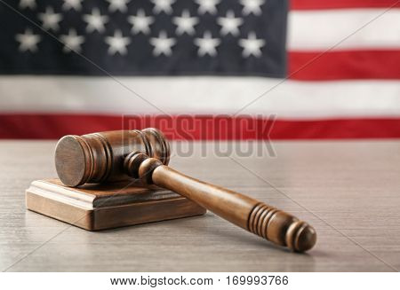 Judge gavel and soundboard on USA flag background