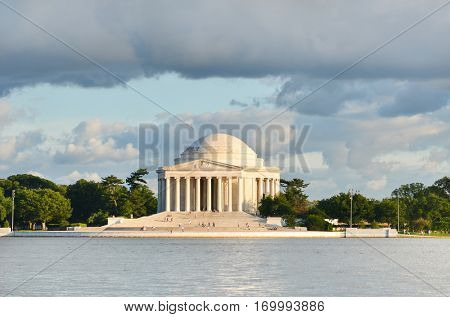 Jefferson Memorial with a dramatic sky - Washington DC, United States
