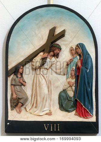 HRVATSKA DUBICA, CROATIA - NOVEMBER 18: 8th Stations of the Cross, Jesus meets the daughters of Jerusalem, Parish Church of Holy Trinity in Hrvatska Dubica, Croatia on November 18, 2010.