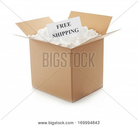 Delivery service concept. Cardboard box full of polystyrene isolated on white