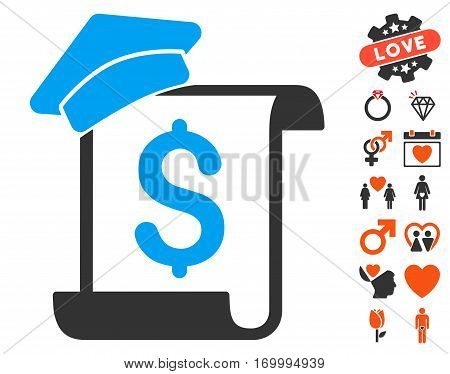 Education Invoice pictograph with bonus valentine pictograms. Vector illustration style is flat iconic symbols for web design app user interfaces.