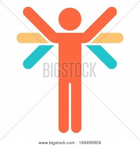 Color logotype man's figure with many hands or wings in flat style. Quick and easy recolorable shape. Vector illustration a graphic element