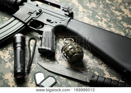 Military set on camouflage clothing