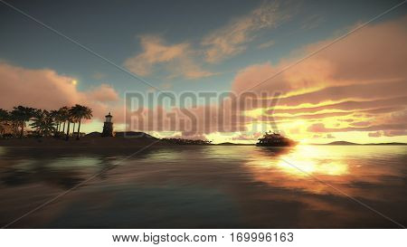 CG 3D rendering of Cruise ship beside the tropical beach