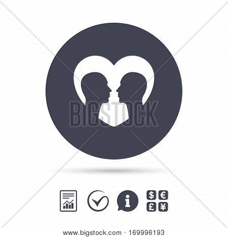 Gay couple sign icon. Male love male. Romantic homosexual relationships with heart. Report document, information and check tick icons. Currency exchange. Vector