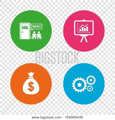 Human resources icons. Presentation board with charts signs. Money bag and gear symbols. Man at the door. Round buttons on transparent background. Vector