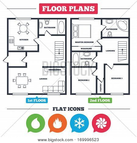 architecture plan with furniture  house floor plan  hvac icons  heating,  ventilating and