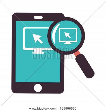 color silhouette with tablet and magnifying glass vector illustration