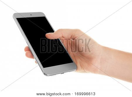 Hand holding cellphone on white background