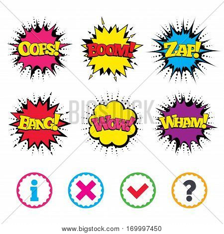 Comic Wow, Oops, Boom and Wham sound effects. Information icons. Delete and question FAQ mark signs. Approved check mark symbol. Zap speech bubbles in pop art. Vector