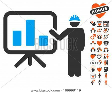 Engineer Pointing Chart Board icon with bonus marriage pictograms. Vector illustration style is flat iconic symbols for web design app user interfaces.