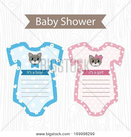 Vector Blue And Pink Onesies For Baby Shower