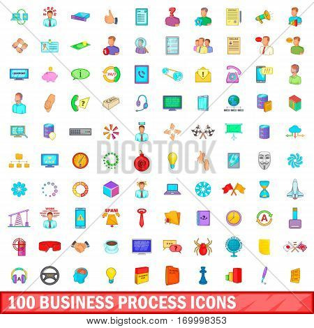 100 business process icons set in cartoon style for any design vector illustration