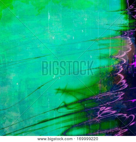 Retro grunge vintage background or weathered antique texture with different color patterns: green; blue; purple (violet); cyan; pink