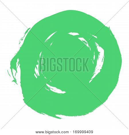 Quick and easy recolorable shape. Brushstroke in the form of a circle. Ink sketch drawing created in handmade technique. Vector illustration a graphic element