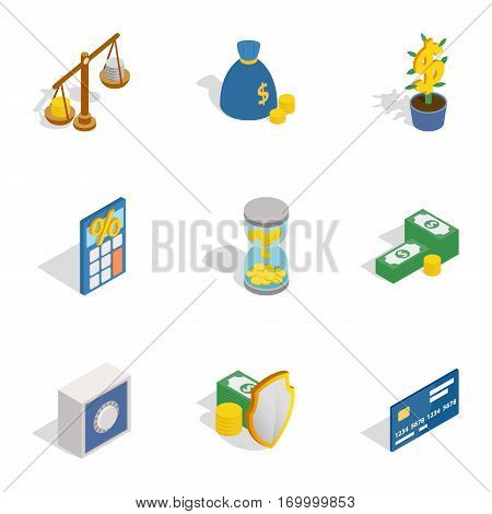 Money and finance icons set. Isometric 3d illustration of 9 money and finance vector icons for web