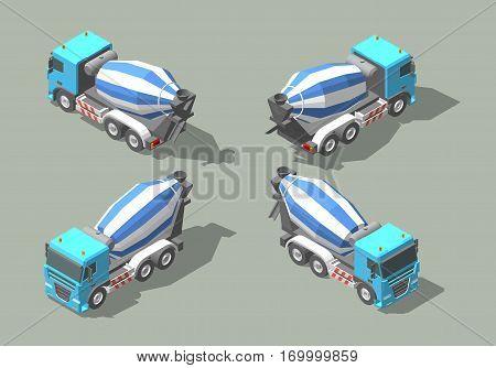 Concrete truck mixer isometric icon vector graphic illustration design for infographic
