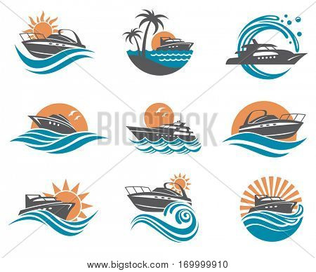 collection of speedboat and yacht icons on waves. Vector illustration