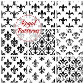 Fleur-de-lis flower floral pattern set of fleur-de-lys royal lily flower tracery. Vector background of heraldic flowery ornament and flourish ornamental embellishment backdrop for interior design. Imperial flourish ornate motif tiles poster
