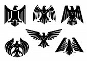 Black heraldic eagle icons set or vulture bird isolated emblem. Royal imperial of gothic predatory griffin badge. Vector blazon or coat of arms with hawk or falcon symbol of power with spread wings, sharp clutches. Military heraldry sign poster
