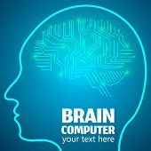 Human Brain Logo, Neurology Anatomical Conception.Silicon chips w synapses in shape of Cerebrum Cerebellum w text Brain computer on blue luminous background.Brain Thought lights shines as Brain works poster