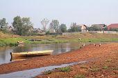 three cranes on coast river near villages poster