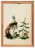 baby drawing of the hedgehog in wooden frame poster